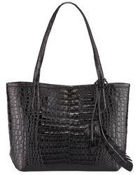 Nancy Gonzalez Erica New Crocodile Leaf Tote Bag - Black