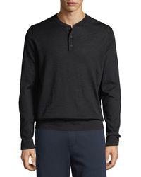 Vince Men's Wool Henley Shirt - Gray