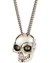 Alexander McQueen Men's Divided Skull Pendant Necklace - Metallic
