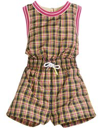 Burberry Pollie Woven Plaid Romper - Pink