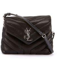 10d6f43315 Saint Laurent - Loulou Monogram Ysl Mini V-flap Calf Suede-effect Wallet On
