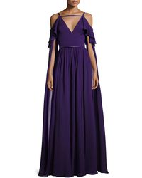 Elie Saab | Long-sleeve Cold-shoulder Strappy Gown | Lyst