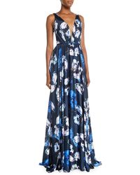 THEIA - Sleeveless Digital Floral-print Charmeuse Gown - Lyst