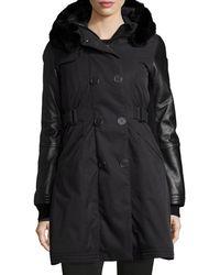 Nobis - Ajin Brushed Twill Fur-trim Swing Coat Black - Lyst