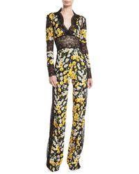 Naeem Khan - Daisy-print Lace-trim Jumpsuit - Lyst