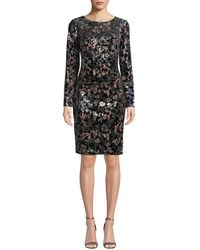 Badgley Mischka - Floral-sequin Long-sleeve Velvet Dress - Lyst