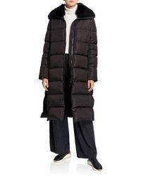 Army by Yves Salomon - Long Side-zip Puffer Coat W/ Fox Fur Trim - Lyst