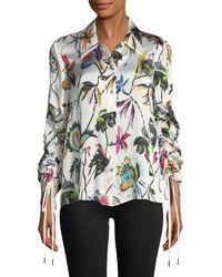 Jason Wu - Floral-print Button-down Drawstring-sleeve Silk Blouse - Lyst