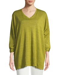 Eskandar - Lightweight Linen Knit V-neck Top - Lyst