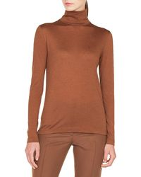 Akris - Turtleneck Long-sleeve Cashmere-silk Jersey Pullover Top - Lyst
