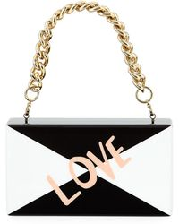 Edie Parker Jean Love Acrylic Clutch Bag With Handle - Black