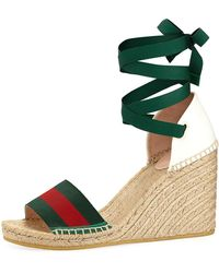 Gucci - Lilibeth Grg Anklewrap Wedge Espadrille - Lyst