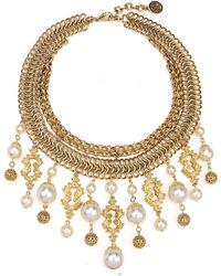 Ben-Amun Golden Chain Multi-drop Pearly Bib Necklace - Metallic