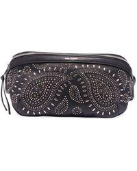 a70c31d6 Saint Laurent Black Mini Ysl Leather Belt Bag - Lyst