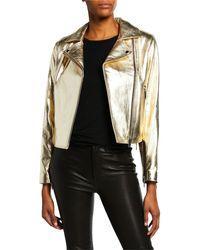 Nour Hammour Daphne Classic Moto Jacket - Metallic