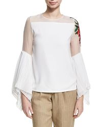 Chufy - Embroidered Sheer Chiffon Top - Lyst