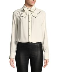 Valentino - Long-sleeve Button-front Silk Georgette Blouse W/ Neck-bow - Lyst