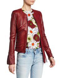 Nour Hammour Retrograde Draped Leather-fringe Biker Jacket - Red