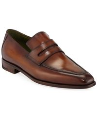 Berluti Men's Andy Leather Penny Loafers - Brown
