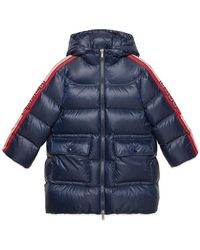 Gucci Girl's Padded Hooded Jacket W/ Logo Taping - Blue