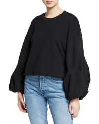 Levi's Flounce Blouson-sleeve Crewneck Pullover Sweater