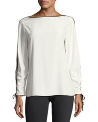 Lafayette 148 New York | Georgina Blouse W/contrast Tipping | Lyst
