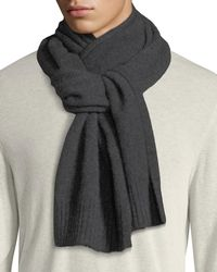 Vince Men's Solid Cashmere Scarf - Gray