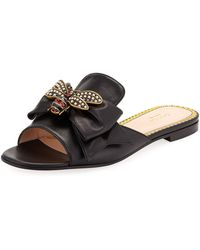 Gucci - Embellished Bee Slide Sandals - Lyst