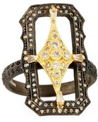 Armenta Old World Crivelli Scalloped Rectangle Ring With Diamonds - Multicolour
