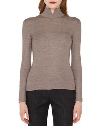 Akris Mock-neck Long-sleeve Cashmere-silk Knit Pullover Sweater - Brown