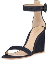 Gianvito Rossi - Denim Wedge Ankle Sandals - Lyst