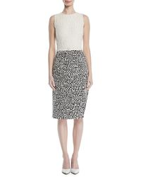 Oscar de la Renta - Sleeveless Scribble-knit Sheath Dress - Lyst