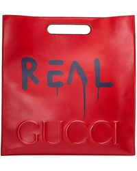 Gucci - Ghost Large Leather Tote Bag - Lyst