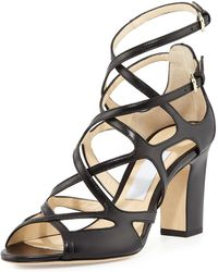 Jimmy Choo Dillan Leather Block-heel Sandal - Black