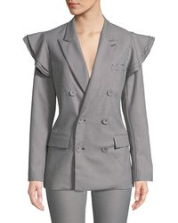 Opening Ceremony - Tailored Houndstooth Ruffle Double-breasted Blazer - Lyst