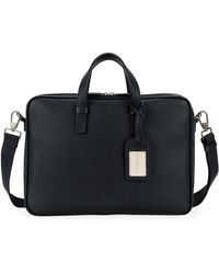 Giorgio Armani - Men's Leather Briefcase Bag With Id Tag - Lyst