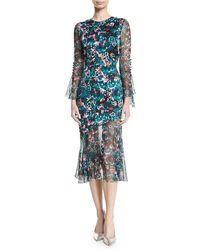Prabal Gurung - Jewel-neck Ruffle-sleeve Floral-print Dress - Lyst