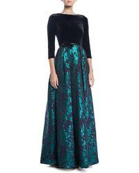THEIA Velvet & Emerald Brocade Ball Gown - Green