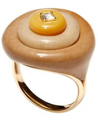 Fernando Jorge Stacked 18k 1-diamond Petrified Wood Ring - Brown