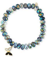 Sydney Evan 14k Enamel Butterfly & Opal Bracelet - Blue
