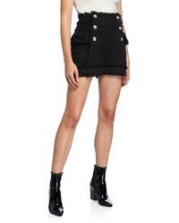 Balmain High-rise Tweed Shorts - Black