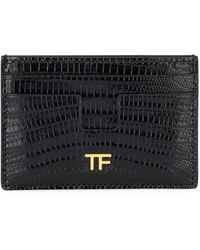 Tom Ford Tejus Lizard Card Case - Black