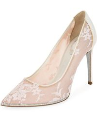Rene Caovilla - Grace Embellished Lace Satin Pumps - Lyst