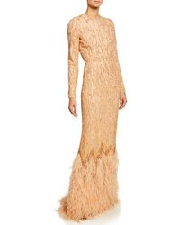 J. Mendel Beaded Long-sleeve Column Gown With Ostrich Feather Hem - Brown