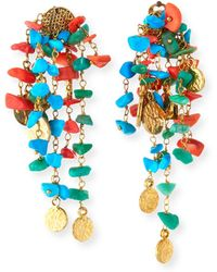 Rosantica Vento Turquoise & Coral Cluster Earrings - Blue