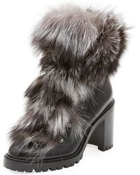 Christian Louboutin - Fanny Calf Red Sole Booties With Fur Trim - Lyst