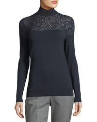 Lafayette 148 New York - Lace-yoke Silk Turtleneck Sweater - Lyst