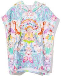 Camilla Hooded Dragon & Koi Fish Print Poncho - Multicolor