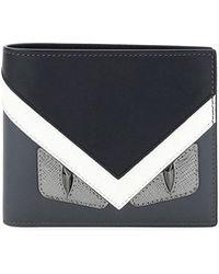 Fendi - Monster Eyes Leather Bi-fold Wallet - Lyst