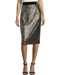 MILLY - Sequins Classic Midi Skirt - Lyst